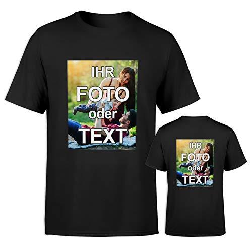T-Shirt mit eigenem Foto Text Logo Name selbst gestalten * ringgesponnene Baumwolle * vollfarbig DOPPELSEITIG Bedruckt * viele Farben, Farbe:Schwarz, Größe:XL