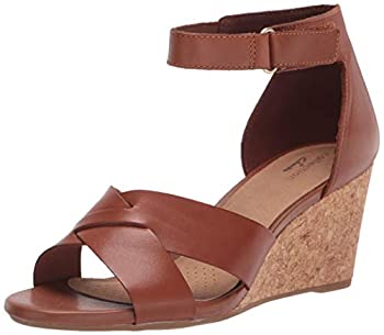 Clarks Women s Margee Gracie Wedge Sandal Tan Leather 9 Wide