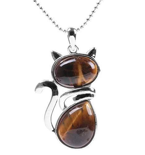 Coco Papaya - Collar plateado con colgante de gato de ojo de tigre auténtico