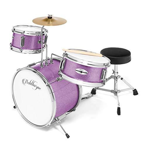 "Ashthorpe 3-Piece Complete Kid's Junior Drum Set - Children's Beginner Kit with 14"" Bass, Adjustable Throne, Cymbal, Pedal & Drumsticks - Purple"
