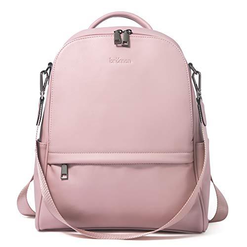 BROMEN Backpack Purse for Women Leather Anti-theft Travel Backpack Fashion College Shoulder Handbag Pink