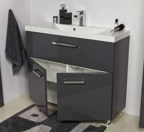 Quentis Badmöbel Tango, bodenstehend, Breite 100 cm, 2-teilig, anthrazit glänzend, Waschbecken mit Unterschrank, Waschbeckenunterschrank montiert