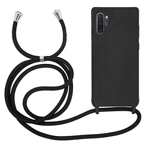 MyGadget Funda con Cordón para Samsung Galaxy Note 10 Plus - Carcasa Cuerda en Silicona TPU Rigida & Opaca - Case con Correa para Llevar en el Cuello - Negro
