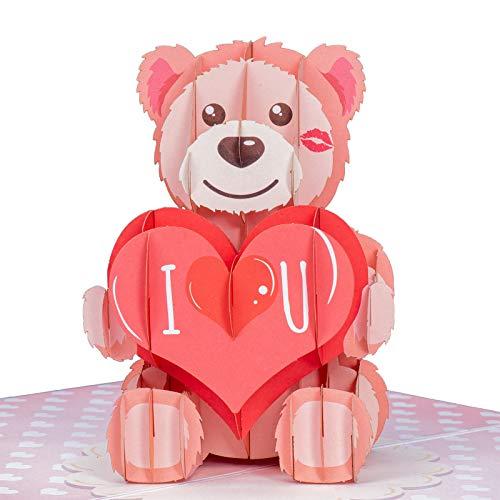 Paper Love I Love U Bear Valentinstagskarte, handgefertigt, 3D-Pop-up-Grußkarten für Valentinstag, Hochzeit, Jahrestag, Liebe, Romantik, alle Anlässe | 12,7 x 17,8 cm wenn geschlossen.