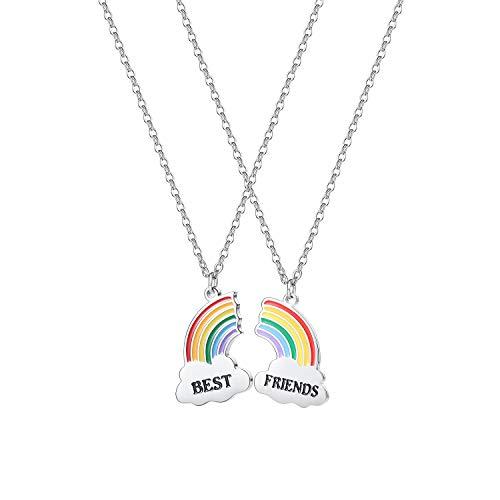 2 collares con colgante de nube arcoíris BFF de amistad para niñas