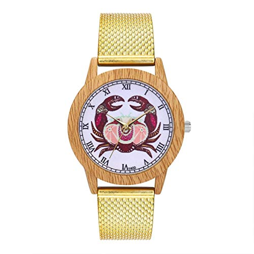 Fashionable Charming Quartz Watch Ladies Casual Big Round Wrist Watch Jewelry Accessories DecorationT400-F,Colour:Gold Bracelets Earrings Rings Necklaces (Color : Gold)