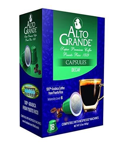 Alto Grande Super Premium Capsules for Nespresso Machines, 100 Percent Arabica Coffee From Puerto Rico (Decaf, 18 Count)