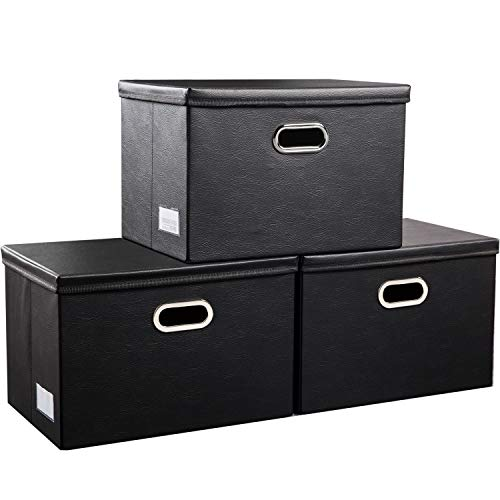Prandom Large Foldable Storage Bins with Lids 3Pack Leather Fabric Collapsible Storage Boxes Organizer Containers Baskets Cube with Cover for Home Bedroom Closet Office Black177x118x118