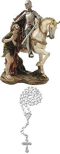 Dekop Heiligenfigur Sankt Martin, H  ca. 22,5cm mit Rosankranz ws