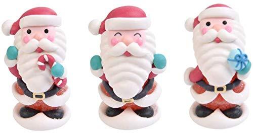 Dream' s Party Set 3 Babbo Natale in Zucchero - Soggetti Natalizi per Decoro Decorazioni Torte e Dolci - Decorazione Natalizia per Torte, panettoni, pandori e Dolci