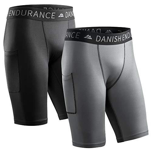 DANISH ENDURANCE Pantalones cortos de compresión para hombre, paquete de 2, medias de entrenamiento con bolsillo, capa base transpirable para correr y entrenar, Multicolor (1...