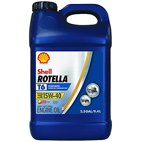 Shell Rotella T6 Full Synthetic 15W-40 Diesel Engine Oil - 2.5 Gallon, Case of 2