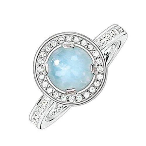 Thomas Sabo Damen-Ring Glam & Soul 925 Sterling Silber Zirkonia weiß Milky Aquamarine hellblau Gr. 54 (17.2) TR1971-694-31-54