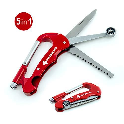 TopSpirit® Karabiner Multitool 5 in 1 - Multifunktionswerkzeug mit Messer, Säge, Kompass, Karabiner und LED-Licht