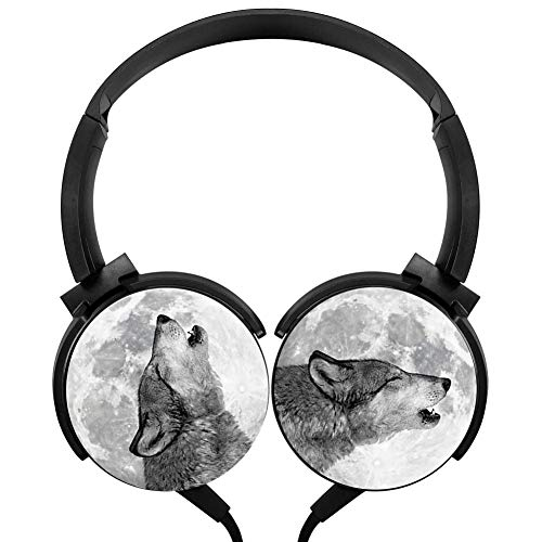 CTWUVS ADPR Wolf and Moon Wired Headphones Headsets Foldable Over Ear for Kids or Adults Black