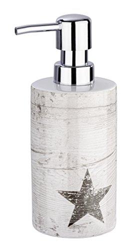 WENKO Seifenspender Star - Flüssigseifen-Spender, Spülmittel-Spender Fassungsvermögen: 0.36 l, Keramik, 8.5 x 18 x 7 cm, Taupe