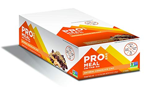 PROBAR - Meal Bar, Oatmeal Chocolate Chip, Non-GMO, Gluten-Free, Healthy, Plant-Based Whole Food Ingredients, Natural Energy, 3 Ounce (Pack of 12)