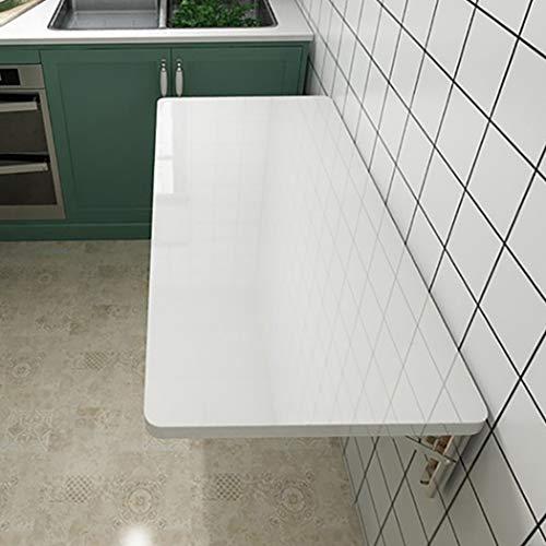 Wandklaptafel, uitklapbaar van hout, eettafel van MDF, afgeronde hoeken en wandtic, bureau, multifunctionele tafel, ontbijttafel, computertafel, wit 60×40cm/24×16inch wit