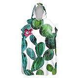 Treer Poncho Toalla con Capucha Adulto Natación Playa Verano Surf Albornoz para Cambiarse de Ropa Toalla de Microfibra Albornoces Nadar Playa Baño, Planta Impresión (Cactus Verde,60x110cm)