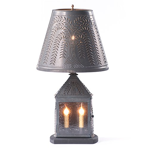 Harbor Lamp with Willow Shade in Blackened Tin