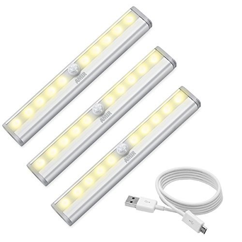 AMIR LED センサーライト 人感センサー ライト キッチンライト USB充電式 10個LED電球 高輝度 省エネ 超寿命 ワイヤレス マグネット付き キッチン 玄関 階段 クロゼット 廊下 台所 本棚などに最適 電球色 3個セット