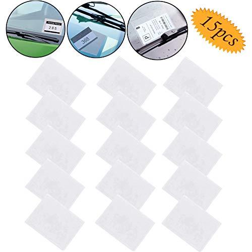 Bluesees Kfz-Ausweishalter, 15 Stück Parkausweishalter, Ausweishalter, transparenter Kunststoff, selbstklebend, universelle Passform, Ticket sicher für Auto, Van, Wohnwagen, Windschutzscheibe
