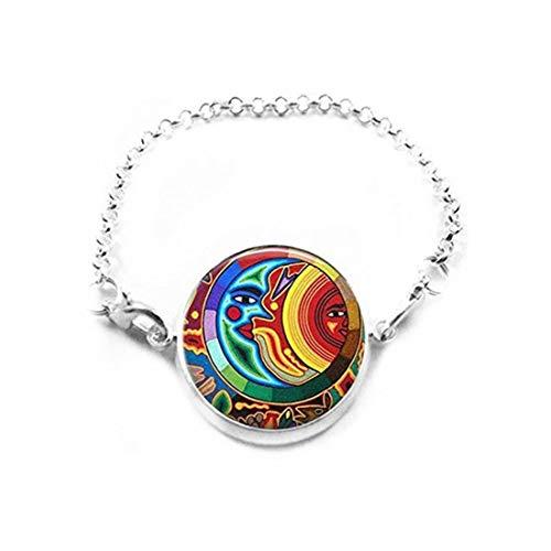 Pulsera de Azulejos de Cristal, joyería de Sol y Luna, joyería de Sol, Luna, Pulsera de Sol, joyería Maya, joyería India