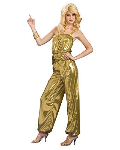 Horror-Shop Goldener Diva Jumpsuit im 70er Jahre Style