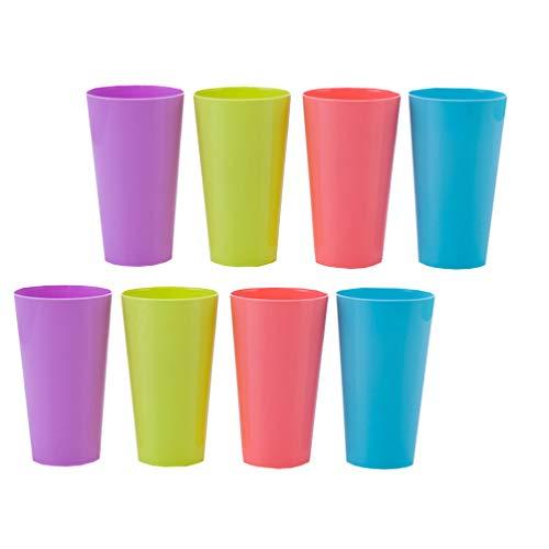 TOYANDONA Plastikbecher Plastikbecher Set 8 Stück Wiederverwendbarer Wasserbecher Bunte Stapelbecher Tassen für Indoor-Outdoor-Partys