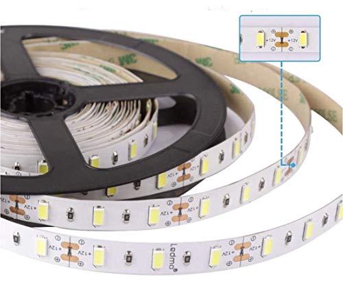 (LA) ROLLO de 5 metros de Tira de led 18w/metro a 24v, 4800 lumenes reales! Cinta strip profesional 18w. 60 led/m. (Blanco frio 6500K, Potencia 18w/m)