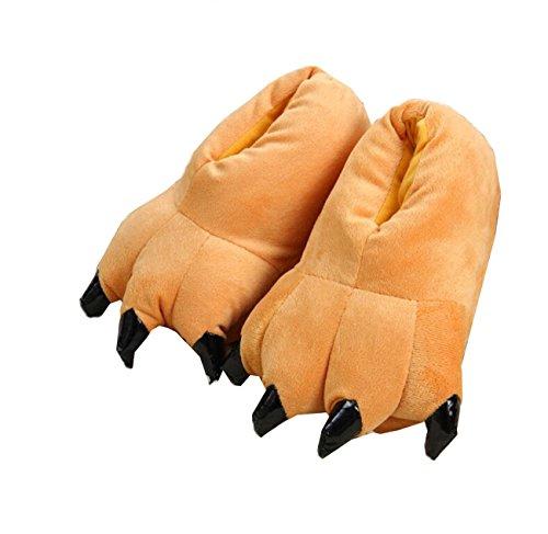 LANFIRE Unisex Soft Plüsch Haus Hausschuhe Tier Kostüm Pfote Claw Schuhe (S (Kind/Größe: 28-34), braun(Brown))