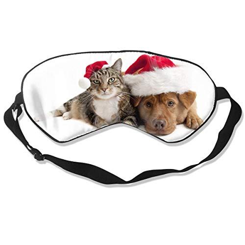 Augenmaske Christmas Cat and Dog Schlafmaske verstellbar atmungsaktiv Schlafmaske Augenmaske