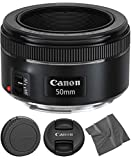 Canon EF 50mm f1.8 STM: Lens (0570C002) + AOM Microfiber Cleaning Cloth - International Version (1 Year AOM Warranty)