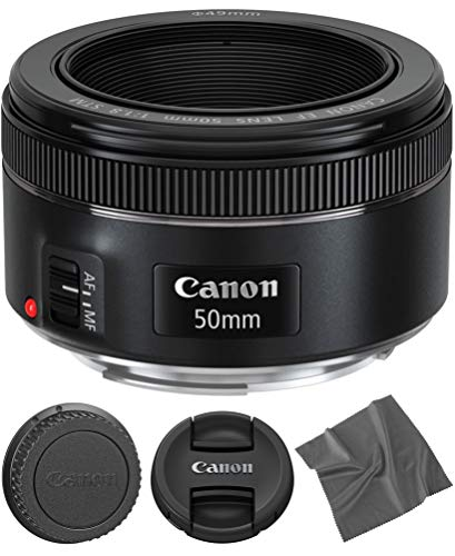 Canon EF 50mm f1.8 STM: Lens (0570C002) + AOM Microfiber Cleaning Cloth -...