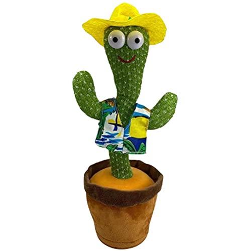 GDZTBS Cactus Que Baila, Cactus Que Canta, Cactus de Peluche Cactus Que se Mueve Electrónicamente, Grabación de Repetición Aprende Cactus Que Habla Descompresión Juguetes para Niños