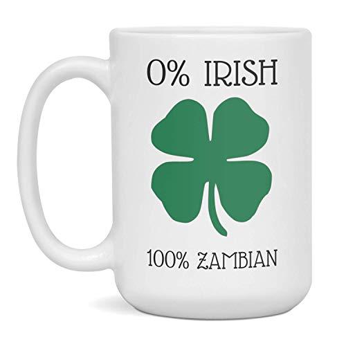 Funny Zambian Coffee Mug St Patricks Day Mug Gift, 15-Ounce White