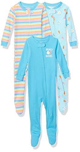 Spotted Zebra Pijamas de algodón de Ajuste cómodo para Dormir (3 Unidades) Pajama-Sets, Ramo de Brunch, EU 62-80 CM, Pack de 3