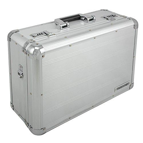 anndora Fotokoffer Kamerakoffer Zahlenschlösser 21 L Silber mit Tragegurt