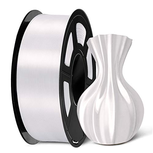 SUNLU 3D Filament 1.75, Shiny Silk PLA Filament 1.75mm, 1KG PLA Filament 0.02mm for 3D Printer 3D Pens, White