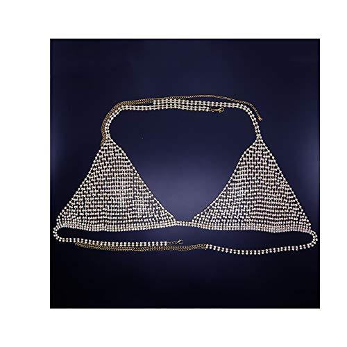 AMY-XCQ Cadena para El Cuerpo, Sujetador Y Bragas De Malla Sexy con Diamantes De Imitación Brillantes, Conjunto De 2 Piezas, Cumpleaños Ajustable para Damas,Oro