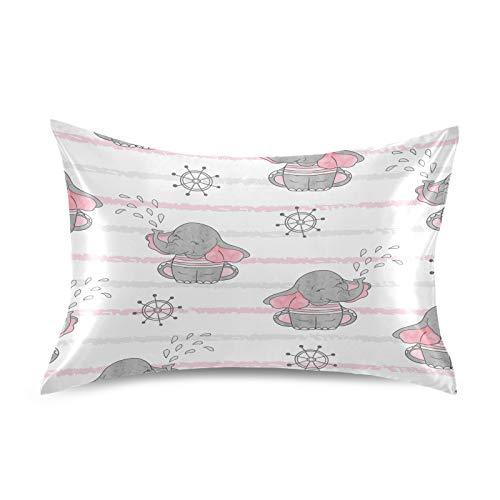 Funda de almohada de satén F17 con diseño de elefante, suave, transpirable, para sofá, funda de cojín para la piel del cabello, decoración del sueño, 20 x 40 pulgadas