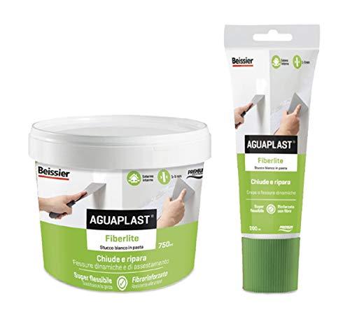 AGUAPLAST Fiberlite - Tubo de pasta de 200 ml, estuco de pasta fibrada para cerrar ranuras de asentamiento