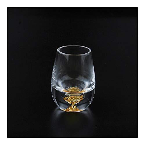 Home+ Vasos de Whisky, La decoración del hogar Tabla Mini Lindo Copa licores Vino Blanco de Cristal Mini Copa de Vino Tostado Gafas de Moda Oro