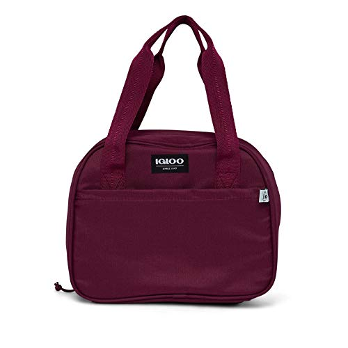 Igloo Repreve Recycled Insulated Performance Fiber 12 Can Soft Side Lily Lunch Bag Cooler with 2 Carry Handles and Zippered Front Pocket, Cherry