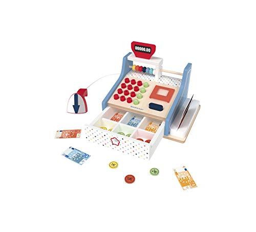 WOOD N PLAY – Juego de madera grabadora de caja – Caja de supermercado juguete con cajón, escáner, tarjeta de crédito, balotonera, billetes y monedas de juego – Juegos para niños