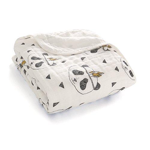 Miracle Baby Musselin Babydecke, Superweich Baumwolle Kuscheldecke, Zwei Lagen Decke Pucktüche für Kinder et Baby Kinderwagen und Babyschale 120 * 120 cm(Panda)