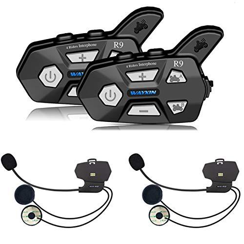 YGGFA Casco Auriculares R9 2pcs intercomunicador de Bluetooth for la Motocicleta 4 Jinetes Hablando Misma Hora intercomunicador de Bluetooth FM 4 Jinetes 1500M (Color : Integratedmicrophone)