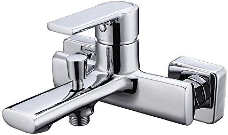 MulFaucet wasserhahn armatur hahn Wasserleitung Faucet Kupfer dickes Chrom Bad Dusche Wand Bad Badewanne hei und kalt gemischt