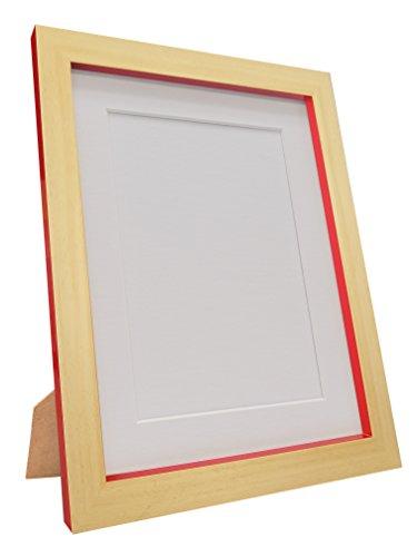FRAMES BY POST MAGNUSBEEREDWITHWHTMT60805070CM Cornice per Foto e Poster in Vetro di plastica, Riciclata, Faggio e Rosso con Montatura Bianca, 60 x 80-inch/Image Size 50 x 70 cm