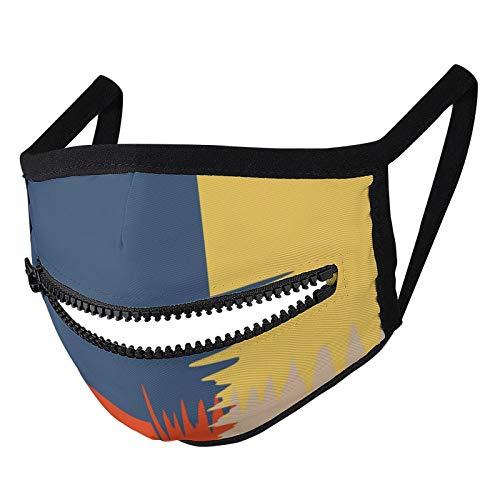 Hustor Azul rojo amarillo crema paño cara Ma_sk con cremallera reutilizable lavable pasamontañas boca Co_ver para hombres mujeres